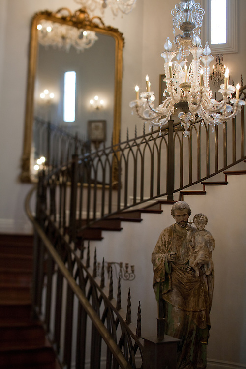 A view of the stairway an statue on the ground floor of Gertrude Zachary's home in downtown Albuquerque New Mexico. ..CREDIT: Steven St. John for The Wall Street Journal