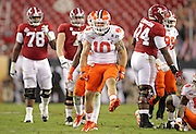 Clemson Tigers linebacker Ben Boulware (10) celebrates a stop of Alabama Crimson Tide running back Bo Scarbrough (9) in the first half of the National Championship game at Raymond James Stadium in Tampa, Monday, January 9, 2017.
