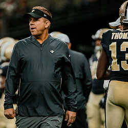 Aug 17, 2018; New Orleans, LA, USA; New Orleans Saints head coach Sean Payton prior to a preseason game against the Arizona Cardinals at the Mercedes-Benz Superdome. Mandatory Credit: Derick E. Hingle-USA TODAY Sports