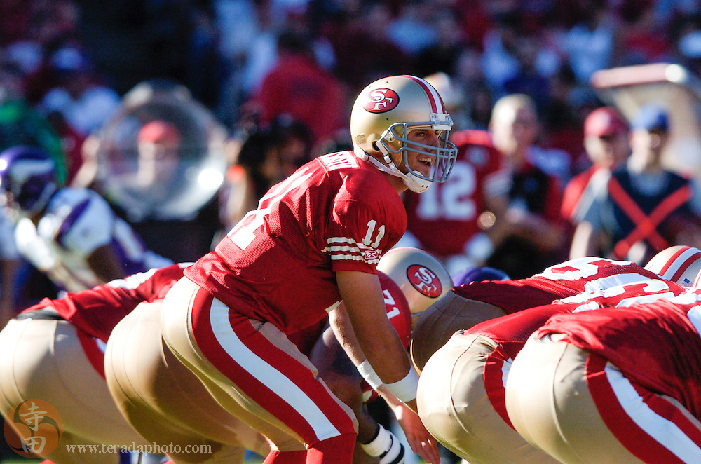 Nov 5, 2006 San Francisco, CA, USA: San Francisco 49ers quarterback Alex Smith (11) stands behind center during the second quarter against the Minnesota Vikings at Monster Park. The 49ers defeated the Vikings 9-3.