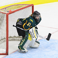 2nd year goalie Jane Kish (31) of the Regina Cougars in action during the preseason Cougars Alumni Game on September 30 at Co-Operators Centre. Credit: Arthur Ward/Arthur Images