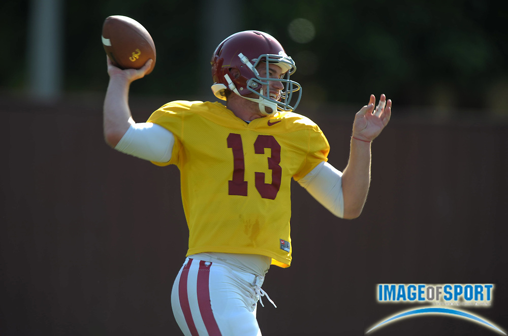Apr 5, 2012; Los Angeles, CA, USA; Southern California Trojans quarterback Max Wittek (13) throws a pass at spring practice at Howard Jones Field.
