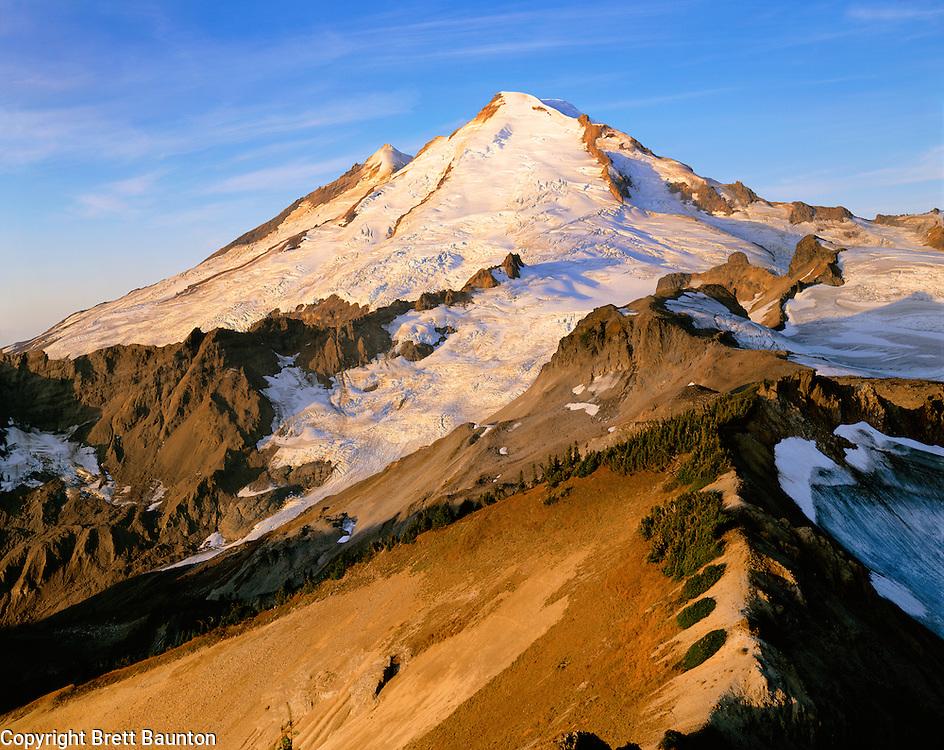 Mt. Baker, WA, USA.Dormant Volcano, 10,778 ft / 3285 m..Mt. Baker Wilderness Area..Sunrise from Coleman Pinnacle..4x5 Transparency.Brett Baunton.