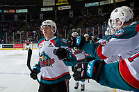 KELOWNA, CANADA - JANUARY 26:  Nolan Foote #29 of the Kelowna Rockets celebrates a second period goal against the Vancouver Giants on January 26, 2019 at Prospera Place in Kelowna, British Columbia, Canada.  (Photo by Marissa Baecker/Shoot the Breeze)