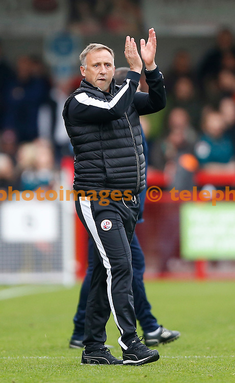 Crawley&rsquo;s Manager Mark Yates applauds the fans after  the Sky Bet League 2 match between Crawley Town and Luton Town at the Checkatrade.com Stadium in Crawley. October 17, 2015.<br /> James Boardman / Telephoto Images<br /> +44 7967 642437