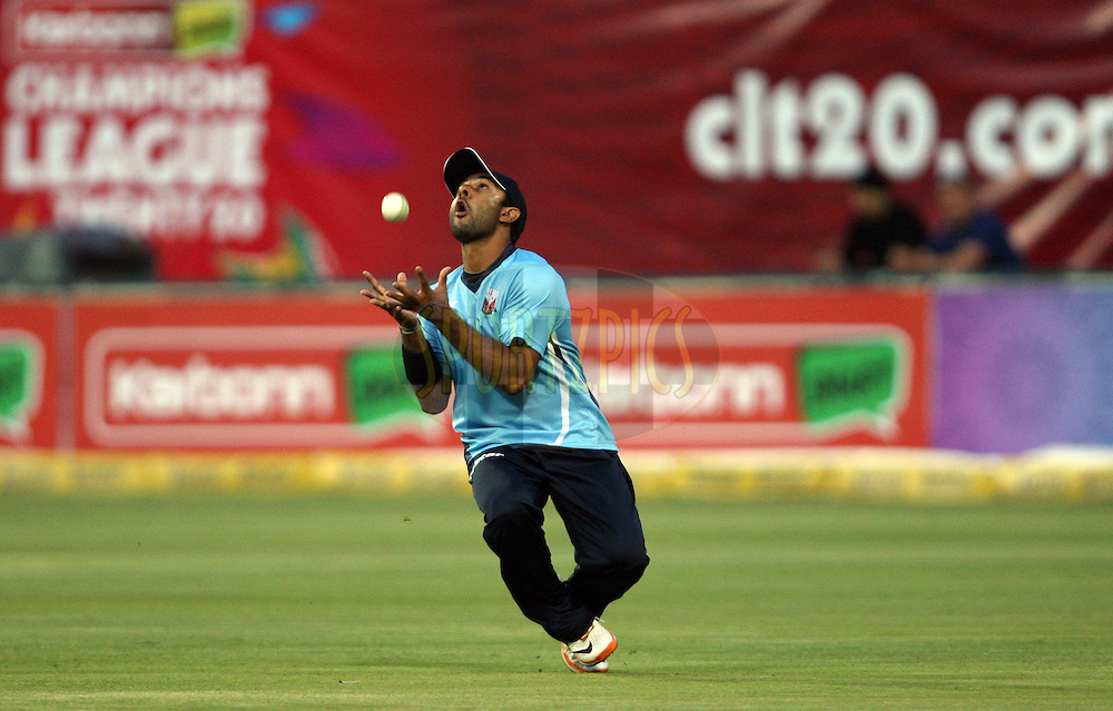 Ronnie Hira takes a catch during 2nd Qualifying match of the Karbonn Smart CLT20 South Africa between Auckland Aces and Sialkot Stallions held at The Wanderers Stadium in Johannesburg, South Africa on the 9th October 2012. Photo by Jacques Rossouw/SPORTZPICS/CLT20