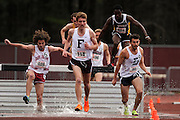 AMHERST, MA - MAY 3: Quinn Davis of St. Joseph's University (409), Jonathan Annelli of Fordham University (119), Mohamed Adam of Virginia Commonwealth University (524) and Evan Gomez of Duquesne University (65) compete in the men's 3,000 meter steeplechase during Day 1 of the Atlantic 10 Outdoor Track and Field Championships at the University of Massachusetts Amherst Track and Field Complex on May 3, 2014 in Amherst, Massachusetts. (Photo by Daniel Petty/Atlantic 10)