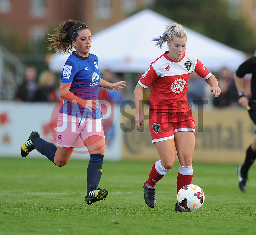 Bristol Academy's Nikki Watts attacks in Everton's half. - Photo mandatory by-line: Alex James/JMP - Mobile: 07966 386802 23/08/2014 - SPORT - FOOTBALL - Bristol  - Bristol Academy v Everton Ladies - FA Women's Super league