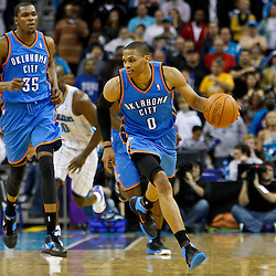 January 24,  2011; New Orleans, LA, USA; Oklahoma City Thunder point guard Russell Westbrook (0) against the New Orleans Hornets during the second half at the New Orleans Arena. The Hornets defeated the Thunder 91-89. Mandatory Credit: Derick E. Hingle