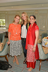 Left to right, AMANDA KYME, KIM HERSOV and PREAH NARANG at a breakfast hosted by Halcyon Days at Fortnum & Mason, 181 Piccadilly, London on 8th July 2014.