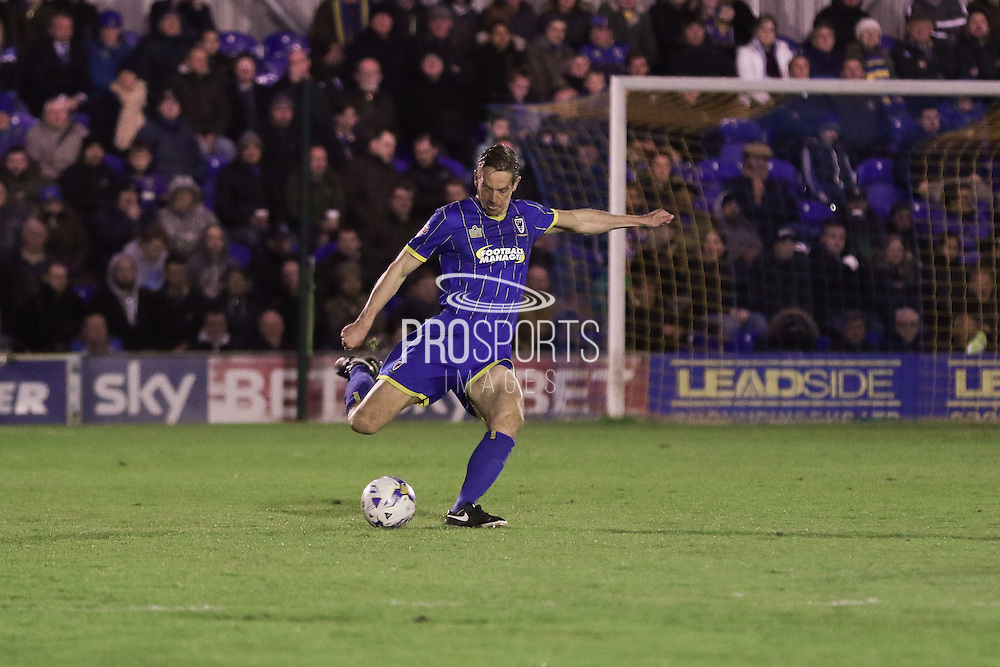 Paul Robinson defender for AFC Wimbledon (6) in action during the Sky Bet League 2 match between AFC Wimbledon and Portsmouth at the Cherry Red Records Stadium, Kingston, England on 26 April 2016. Photo by Stuart Butcher.
