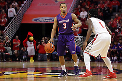 15 January 2016: Jaylon Brown(3) defended by Paris Lee(1) during the Illinois State Redbirds v Evansville Purple Aces at Redbird Arena in Normal Illinois (Photo by Alan Look)
