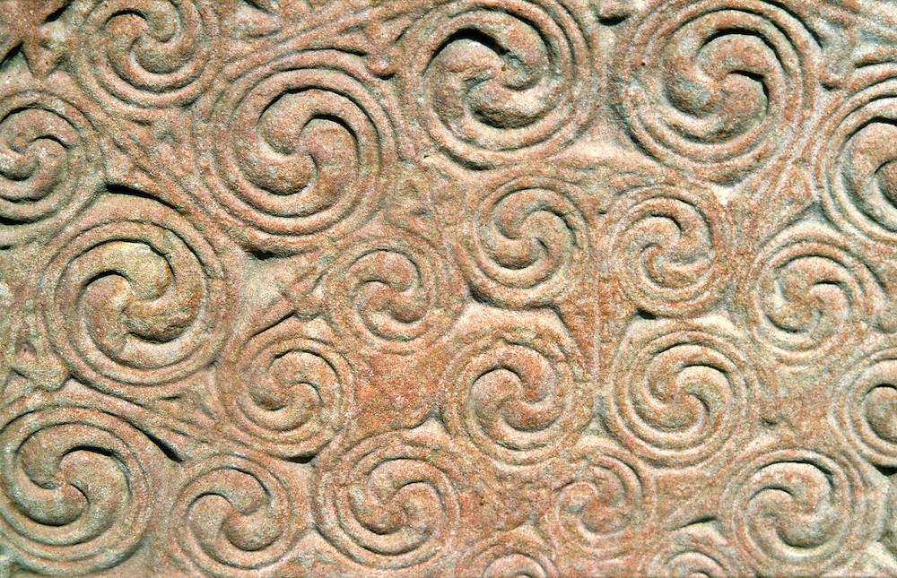 Curvilinear detail of carved Celtic Pictish Christian symbol stone monument at Shandwick, Easter Ross, Highland Region, Scotland