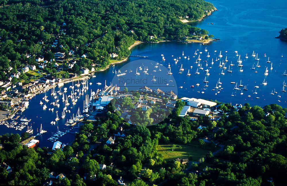Aerial view of Camden, Maine.