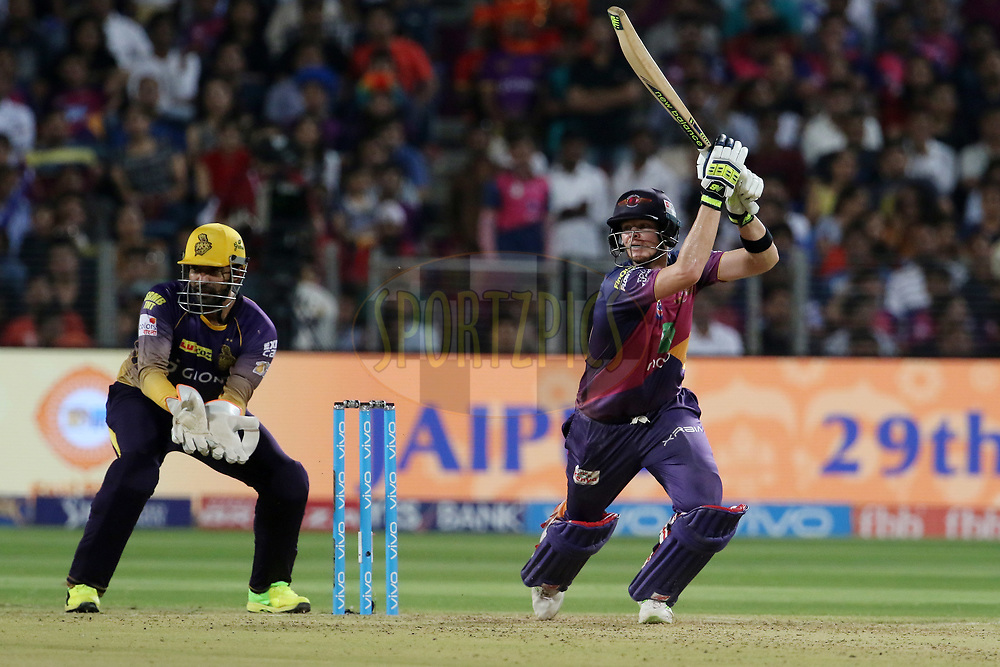 Rising Pune Supergiant captain Steven Smith  plays a shot during match 30 of the Vivo 2017 Indian Premier League between the Rising Pune Supergiants and the Kolkata Knight Riders  held at the MCA Pune International Cricket Stadium in Pune, India on the 26th April 2017<br /> <br /> Photo by Vipin Pawar- IPL - Sportzpics
