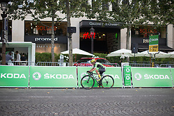 Valentina Scandolara (ITA) of Cylance Pro Cycling tries to pull away from the peloton during the La Course, a 89 km road race in Paris on July 24, 2016 in France.