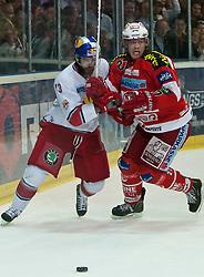 07.04.2011, Volksgarten Arena, Salzburg, AUT, EBEL, FINALE, EC RED BULL SALZBURG vs EC KAC, im Bild Michael Schiechl, (EC RED BULL SALZBURG, #13), Thomas Hundertpfund, (EC KAC, #27) // during the EBEL Eishockey Final, EC RED BULL SALZBURG vs EC KAC at the Volksgarten Arena, Salzburg, 2011-04-07, EXPA Pictures © 2011, PhotoCredit: EXPA/ J. Feichter