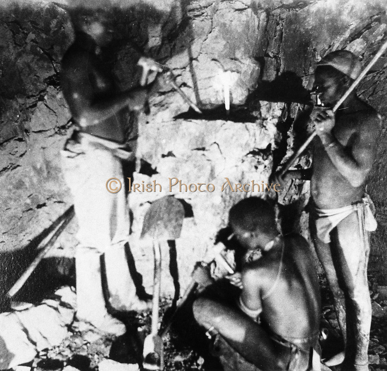 Basuto miners in De Beers diamond mines. From photograph c1885. In 1887 and 1888 Cecil Rhodes amalgamated the diamond mines around Kimberley, which included De Beers, into Consolidated Mines.