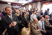 I crowd gathers in the 1084 Lounge to hear Ohio University President Roderick J. McDavis announce  that  with a recent contribution to The Promise Lives campaign their goal of raising $450 million was met 14 months before the deadline.  Photo by Ohio University / Jonathan Adams