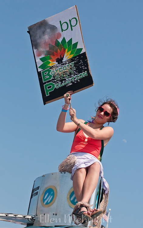 Activist  boycotting BP atop a float at the Coney Island Mermaid Parade in Brooklyn - June 19, 2010