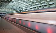 Image of a Washington, D.C. metro train at Judiciary Square.