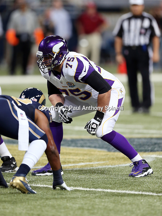 Minnesota Vikings tackle Matt Kalil (75) gets set for the snap during the NFL week 15 football game against the St. Louis Rams on Sunday, Dec. 16, 2012 in St. Louis. The Vikings won the game 36-22. ©Paul Anthony Spinelli