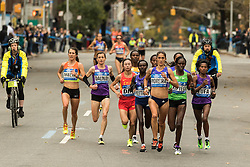 lead pack elite women near mile 10 in Williamsburg