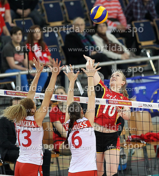 04.01.2014, Atlas Arena, Lotz, POL, FIVB, Damen WM Qualifikation, Belgien vs Schweiz, im Bild LISE VAN HECKE INES GRANVORKA PATRICIA SCHAUSS // LISE VAN HECKE INES GRANVORKA PATRICIA SCHAUSS during the ladies FIVB World Championship qualifying match between Belgium and Switzerland at the Atlas Arena in Lotz, Poland on 2014/01/05. EXPA Pictures &copy; 2014, PhotoCredit: EXPA/ Newspix/ Maciej Goclon<br /> <br /> *****ATTENTION - for AUT, SLO, CRO, SRB, BIH, MAZ, TUR, SUI, SWE only*****