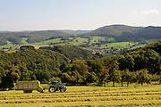 Heuernte, Landschaft, Fischbachtal, Odenwald, Hessen, Deutschland