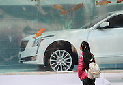 SHANGHAI, CHINA - FEBRUARY 24: (CHINA OUT) <br /> <br /> A woman looks at the luxury car with carps around in a fish tank at Xintiandi on February 24, 2016 in Shanghai, China. A car brand set the luxury car into a fish tank as an installation art. <br /> ©Exclusivepix Media