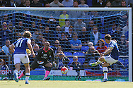 Leighton Baines of Everton scores his sides 2nd goal from the penalty spot during the Barclays Premier League match at Goodison Park, Liverpool<br /> Picture by Paul Chesterton/Focus Images Ltd +44 7904 640267<br /> 15/05/2016