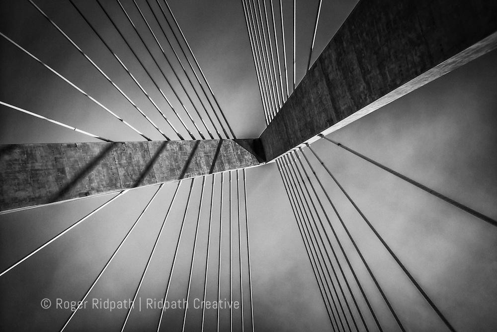 Christopher S. Bond, Missouri River, bridge, delta-shaped, pylon, horizontal, abstract, black and white, concrete, steel, cables, cable