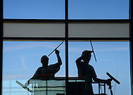 Sarasota, Fl:  Monday, June 11, 2012-- Window washers at Sarasota Bradenton International Airport.    ©Audrey C. Tiernan