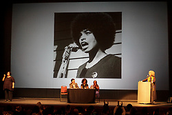 March 22, 2019 - Montevideo, Uruguay - Angela Davis seen during her speech in Montevideo...In the framework of the International Women's Day (March 8) and the International Day for the Elimination of Racial Discrimination (March 21), the feminist activist, anti-racist and philosophy professor Angela Davis,  was invited by the government of Uruguay to give a conference in the Solis Theater in Montevideo. (Credit Image: © Mauricio Zina/SOPA Images via ZUMA Wire)