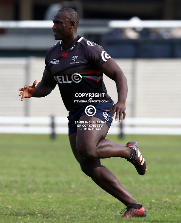 Bandisa Ndlovu during The Cell C Sharks training session at Growthpoint Kings Park in Durban, South Africa. 21 August 2017(Photo by Steve Haag)<br /> <br /> images for social media must have consent from Steve Haag