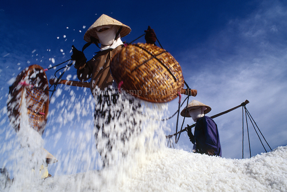 Salt harvest near Phan Rang, Vietnam