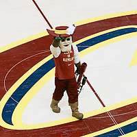10 June 2016: Cleveland Cavaliers mascot Sir Cleveland Cavalier is seen during the Golden State Warriors 108-97 victory over the Cleveland Cavaliers, during Game Four of the 2016 NBA Finals at the Quicken Loans Arena, Cleveland, Ohio, USA.