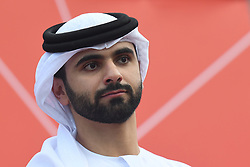 March 2, 2019 - Dubai, United Arab Emirates - Sheikh Mansour Bin Mohammed Bin Rashid Al Maktoum during the Awards Ceremony, after he wins the inagural edition of the UAE Tour. .On Saturday, March 2, 2019, in Dubai City Walk, Dubai Emirate, United Arab Emirates. (Credit Image: © Artur Widak/NurPhoto via ZUMA Press)