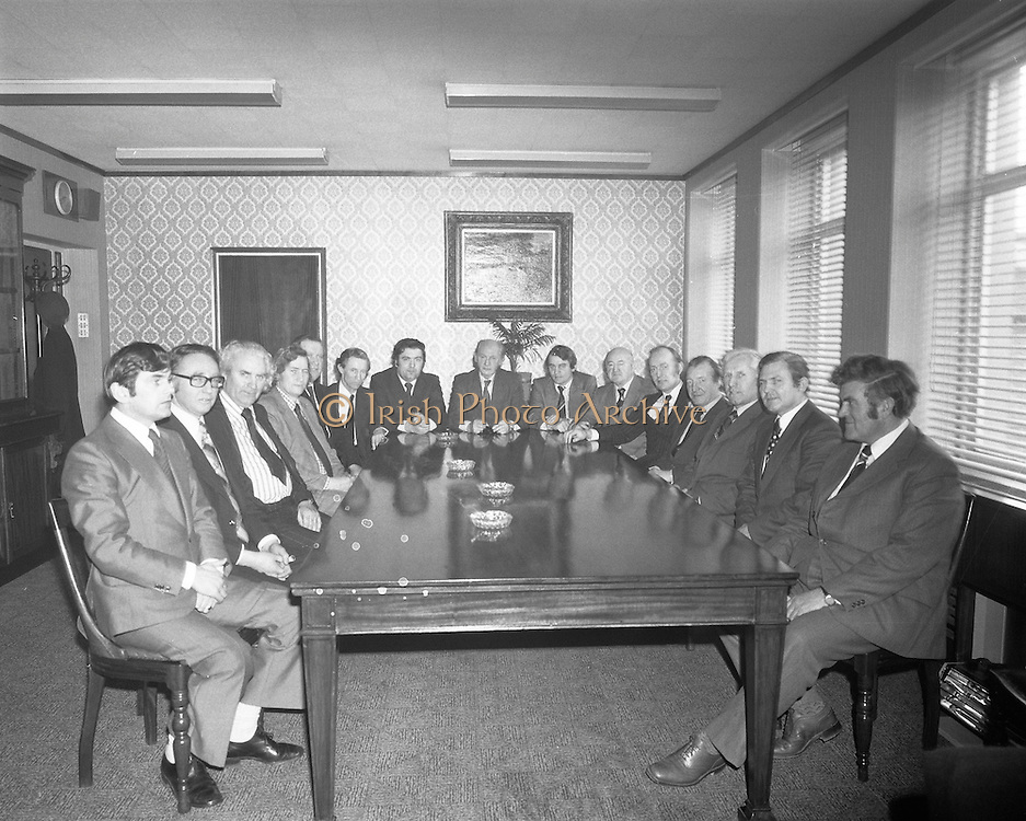 An Taoiseach Jack Lynch meeting with leading members of the SDLP  at Leinster House. From left to right, Ray McSharry TD, Frank Feely, SDLP, John Wilson, TD, Seamus Mallon, SDLP, Padraig Faulkner, TD, Ruairi Brugha, TD, John Hume, SDLP, Jack Lynch , TD, Austen Currie, SDLP, Joe Brennan, TD, Michael O'Kennedy, TD, Charles Haughey, TD, Jim Leonard, TD, John O'Leary, TD, Paddy Power, TD.