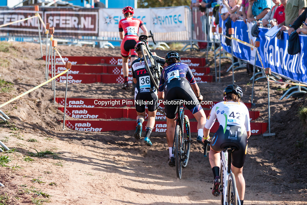 Running across the steps during the Women Elite race at the 2018 Telenet Superprestige Cyclo-cross #1 Gieten, UCI Class 1, Gieten, Drenthe, The Netherlands, 14 October 2018. Photo by Pim Nijland / PelotonPhotos.com | All photos usage must carry mandatory copyright credit (Peloton Photos | Pim Nijland)