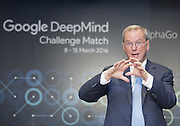 Google Chairman Eric Schmidt speaks during a pre-match press conference of a historic human-computer showdown in Seoul, South Korea, March 8, 2016. The historic human-computer showdown in the ancient board game Go begins on Wednesday in Seoul, with the winner's prize of US$1 million at stake. The matches will be also held at the same place on Thursday, Saturday and Sunday and will end next Tuesday. The prize will be donated to UNICEF and other charities, if AlphaGo wins, local media reported. Photo by Lee Jae-Won (SOUTH KOREA)  www.leejaewonpix.com
