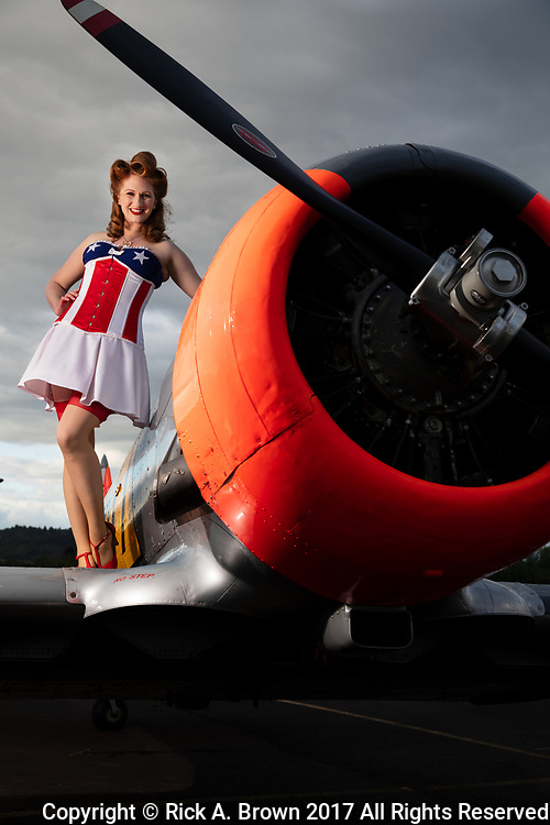 "Pinup ""Lacey Lady"" with AT-6 Texan."