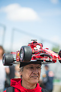 June 7-11, 2018: Canadian Grand Prix. Fan wearing a custom made Ferrari hat
