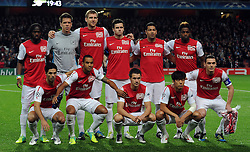 01.11.2011, Emirates Stadion, London, ENG, UEFA CL, Gruppe F, Arsenal FC (GBR) vs Olympique de Marseille (FRA), im Bild  Arsenal's team group(l-r) Gervinho, Wojciech Szczesny, Per Mertesacker,  Carl Jenkinson, Andre Santos, Alex Song, Mikel Arteta, Theo Walcott, Aaron Ramsey, Park Chu-Young and Thomas Vermaelen // during UEFA Champions League group F match between Arsenal FC (GBR) and Olympique de Marseille (FRA) at Emirates Stadium, London, United Kingdom on 01/11/2011. EXPA Pictures © 2011, PhotoCredit: EXPA/ Propaganda Photo/ Chris Brunskill +++++ ATTENTION - OUT OF ENGLAND/GBR+++++