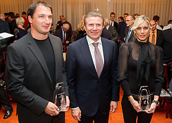 Best of 2013 Primoz Kozmus and Snezana Rodic at photo opportunity with Sergey Bubka during the Slovenia's Athlete of the year award ceremony by Slovenian Athletics Federation AZS on November 8, 2013 in Grand Hotel Toplice, Bled, Slovenia. Photo by Vid Ponikvar / Sportida