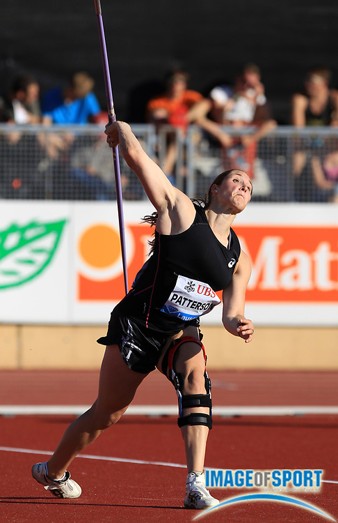Jul 3, 2014; Lausanne, SWITZERLAND; Kara Patterson (USA) places eighth in the womens javelin at 202-8 (61.77m) in the 2014 Athletissima at Stade Olympique de la Pontaise. Photo by Jean-Pierre Durand