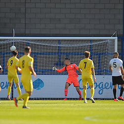 TELFORD COPYRIGHT MIKE SHERIDAN Goal. Joe Davis scores to make it 2-0 during the National League North fixture between AFC Telford United and Nantwich Town on Saturday, September 21, 2019.<br /> <br /> Picture credit: Mike Sheridan<br /> <br /> MS201920-020