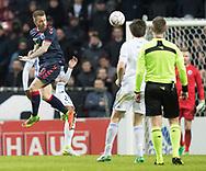 FODBOLD: Martin Spelmann (AGF) header mod mål under kvartfinalen i DBU Pokalen mellem FC København og AGF den 7. april 2017 i Telia Parken, København. Foto: Claus Birch