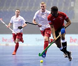 BERLIN - Indoor Hockey World Cup<br /> Men: Poland - Trinidad &amp; Tobago<br /> foto: PIERRE Mickell scores.<br /> WORLDSPORTPICS COPYRIGHT FRANK UIJLENBROEK