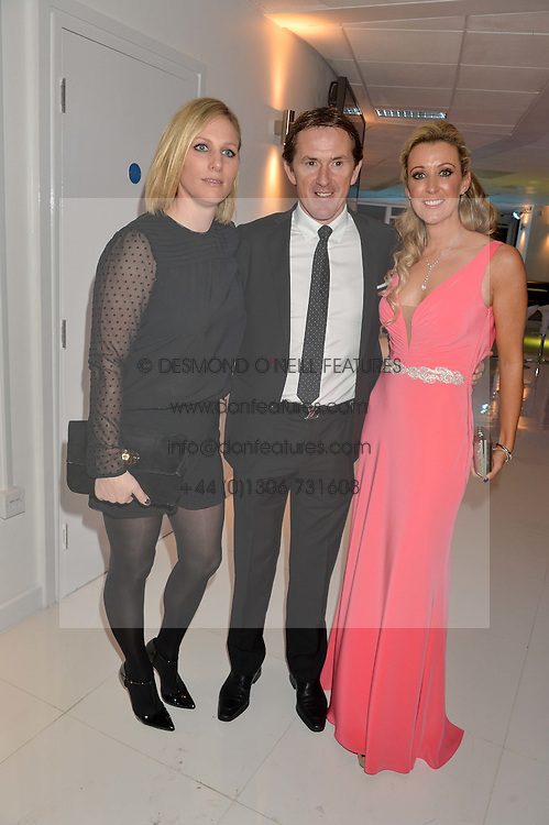 Left to right, ZARA TINDALL, AP McCOY and CHANELLE McCOY at the London premier of Being AP held at Altitude 360, Millbank Tower, 30 Millbank, London on 23rd November 2015.